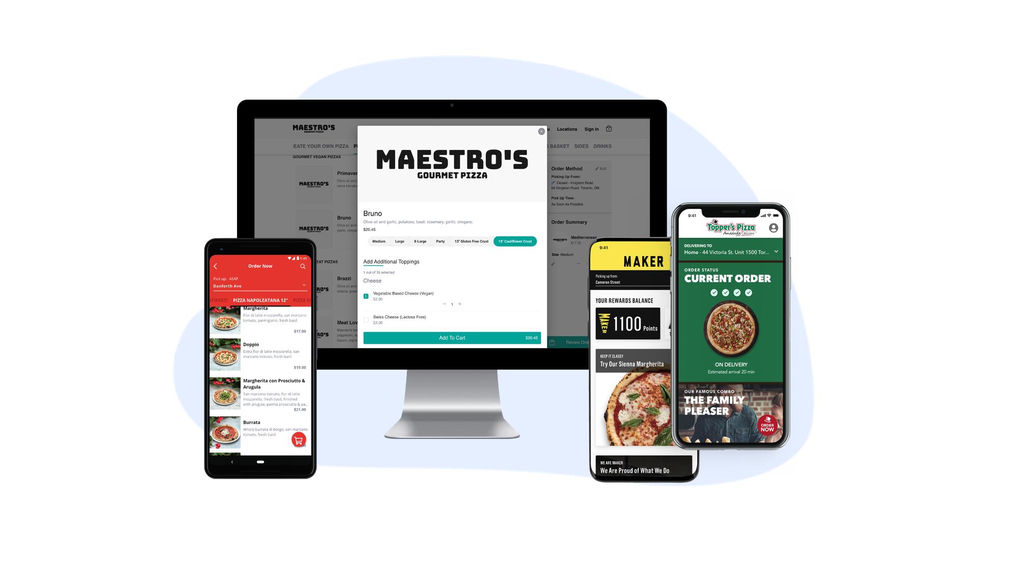 Pizzeria Libretto, Topper's Pizza and Maker Pizza mobile apps and Maestro's Pizza web ordering